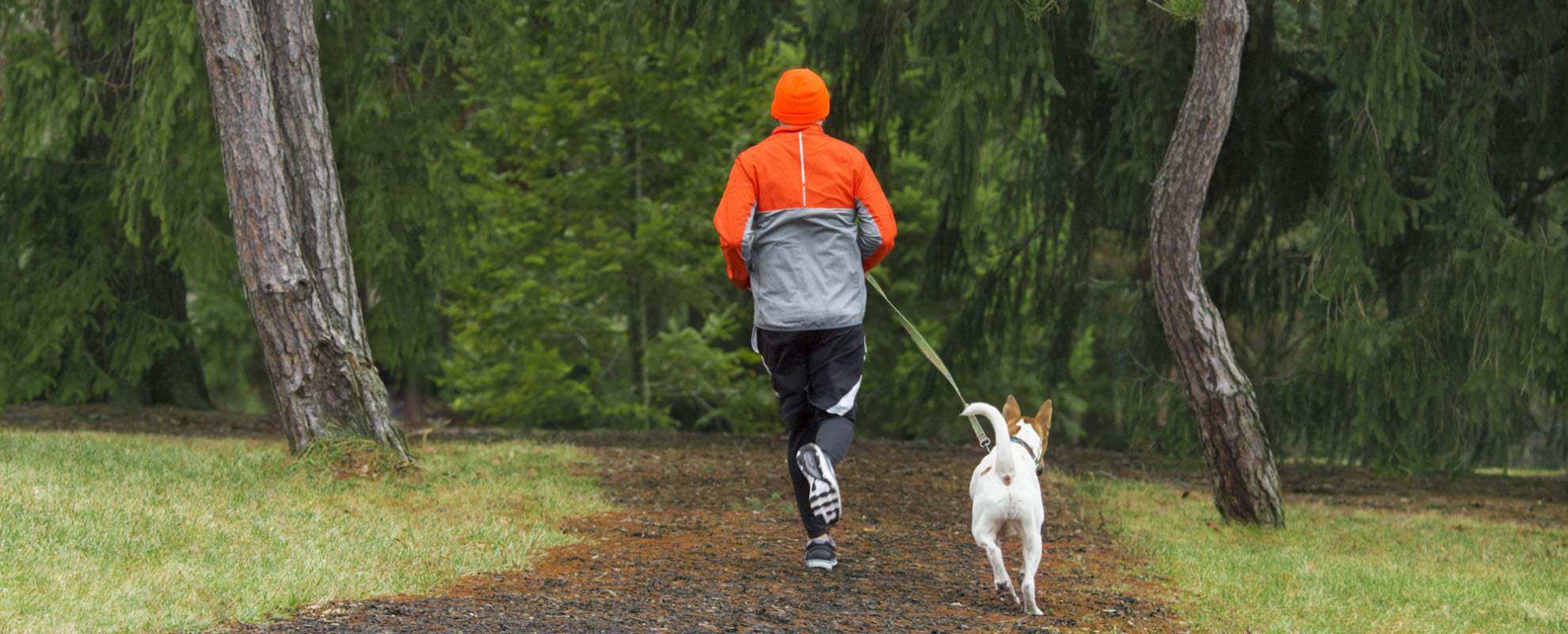 background of person running with dog